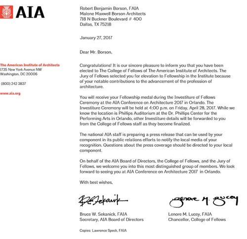 Bob Borson Fellows Notification Letter