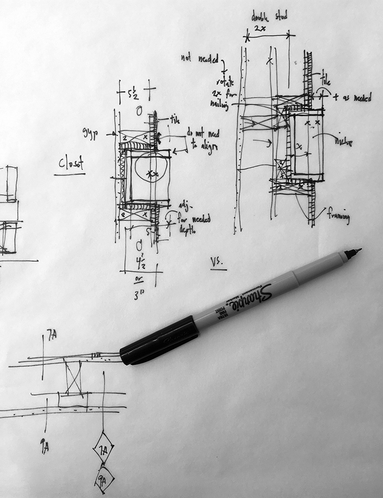 Architectural Wall Type sketch by Bob Borson