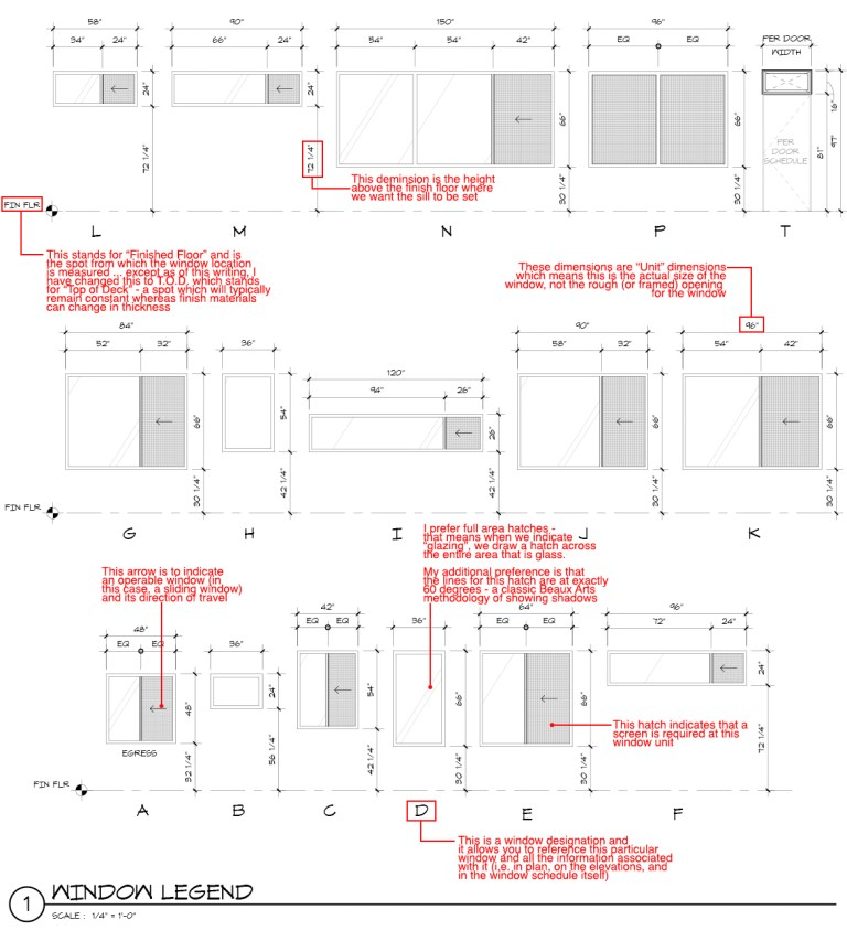 Architectural Graphics 101 Enlarged Window Schedule with Notes