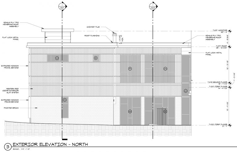 Exterior Wood Screen Elevation - Malone Maxwell Borson Architects