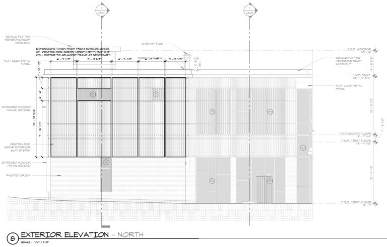 Exterior Wood Screen Panel Elevation - Malone Maxwell Borson Architects