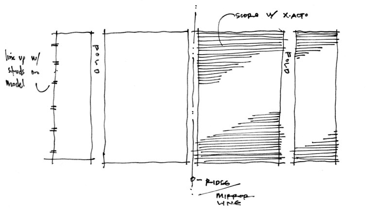 Playhouse Model Sketch - laying out panels for the roof