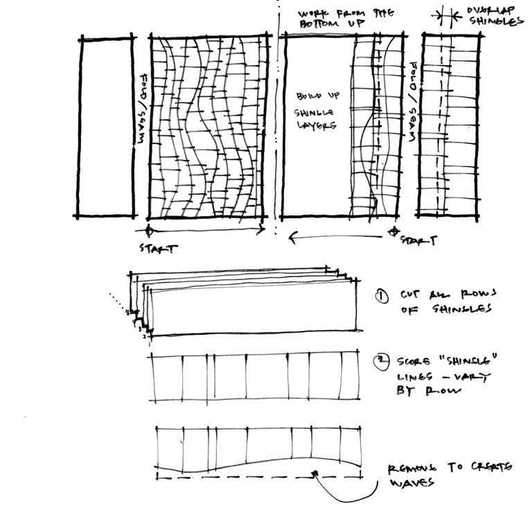 Playhouse Model Sketch - laying out shingles