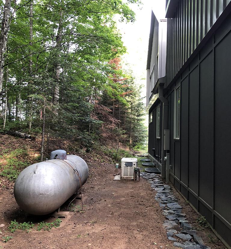 propane tank in the side yard