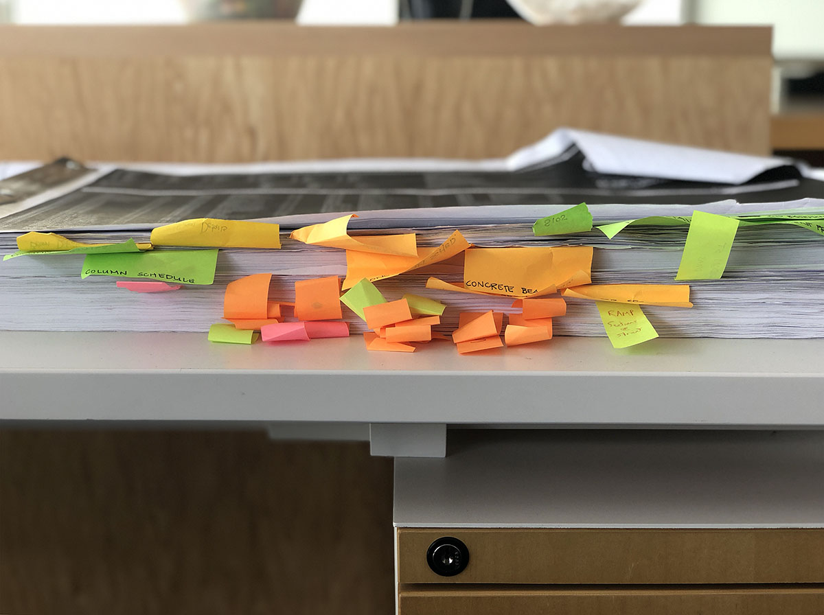 Architectural Drawings with Post-It notes