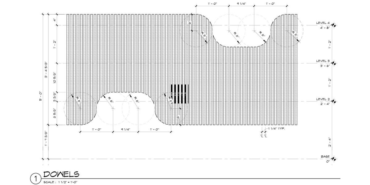 Cat Tower - Dowel Layout (Malone Maxwell Borson Architects)