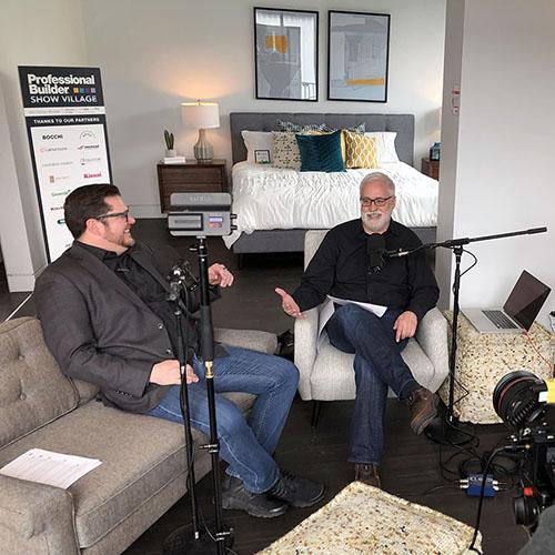 Bob Borson and Andrew Hawkins recording a podcast