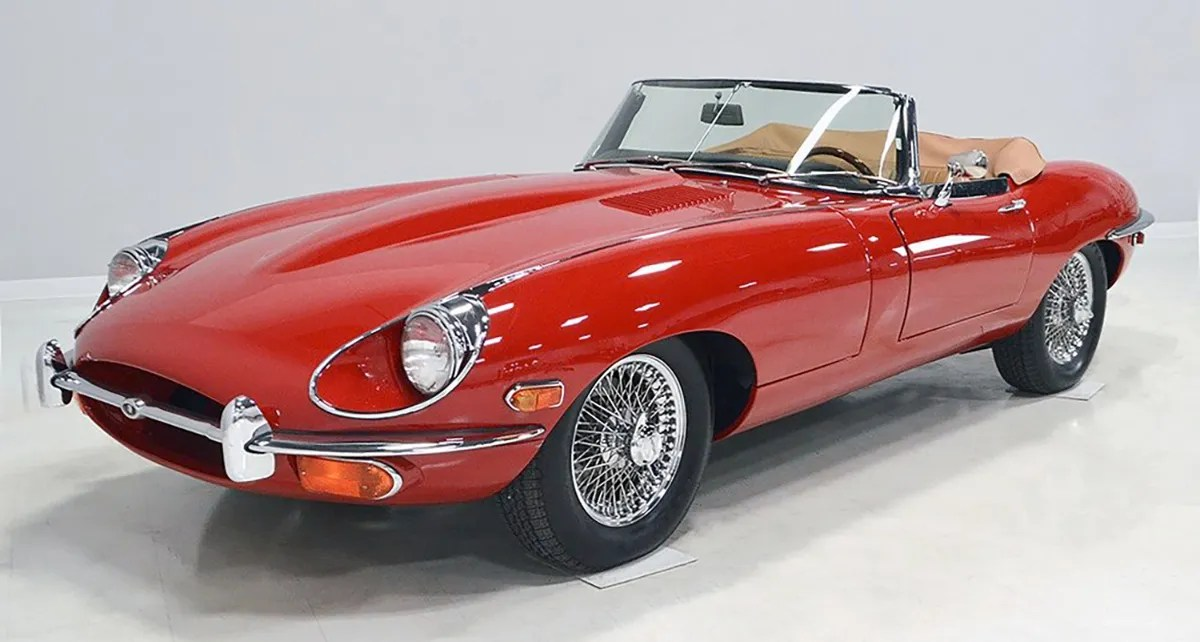 Red 1969 Jaguar XKE II convertible