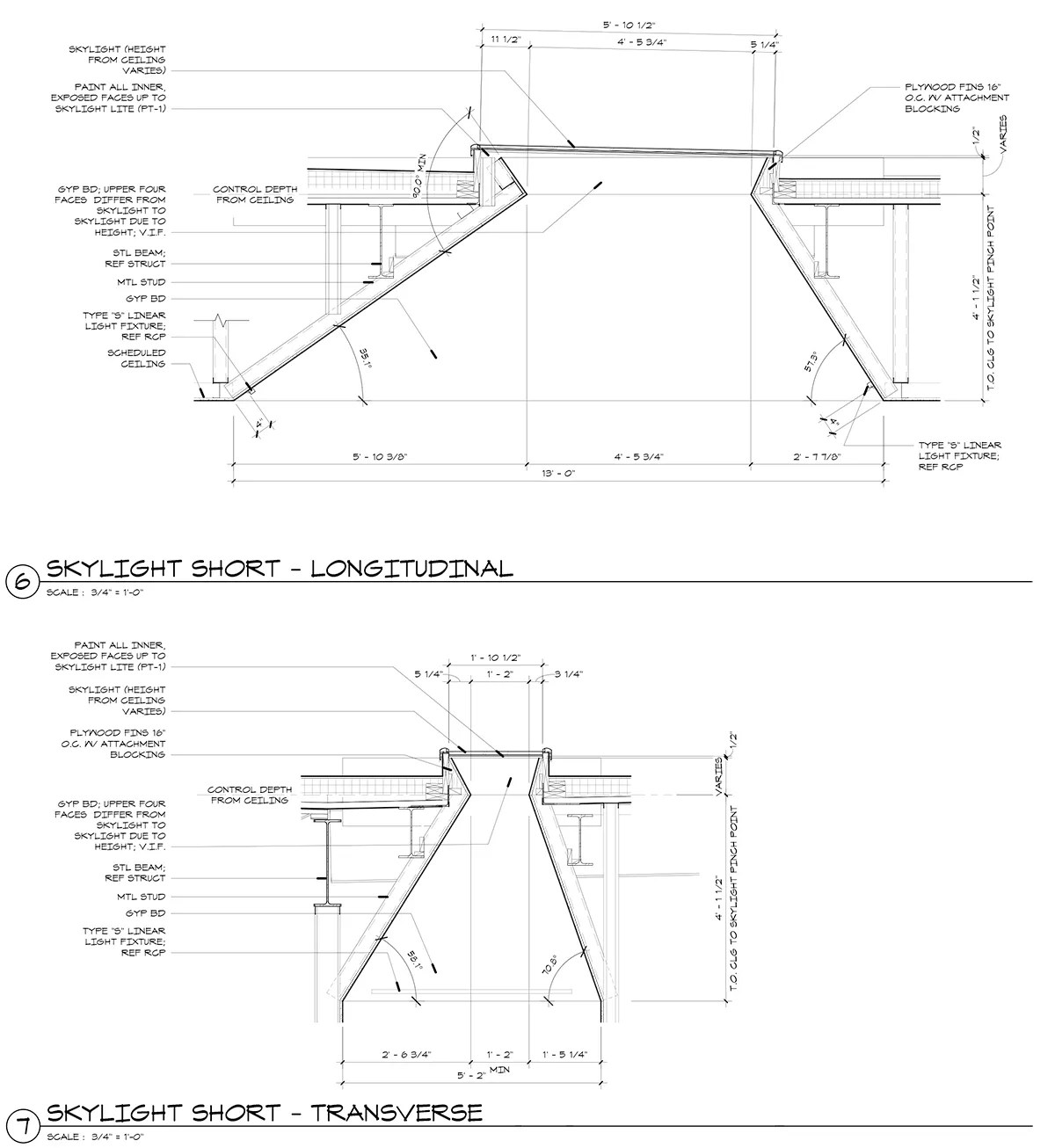 Skylight Detail Sections - Construction Drawings