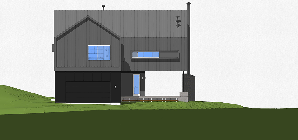 Modern Cabin East Elevation Sketchup by Bob Borson
