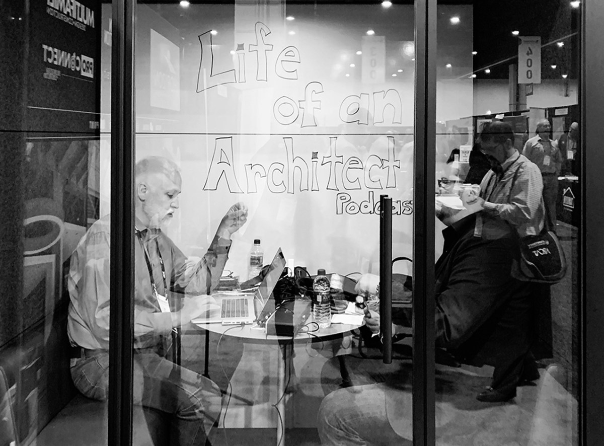 Bob Borson and Andrew Hawkins recording Life of an Architect podcast