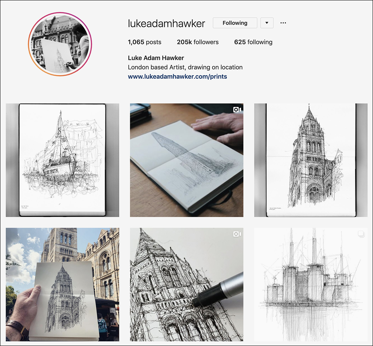 lukeadamhawker Instagram account - good for sketching