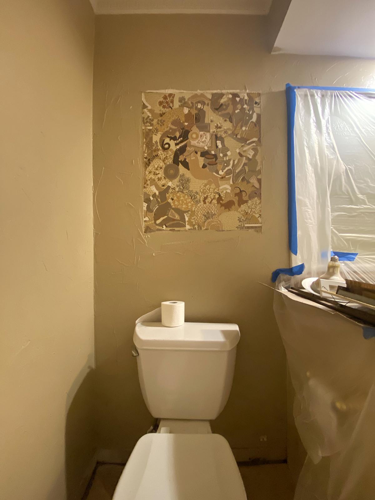 Wallpaper above toilet - sneak peak a bit closer still