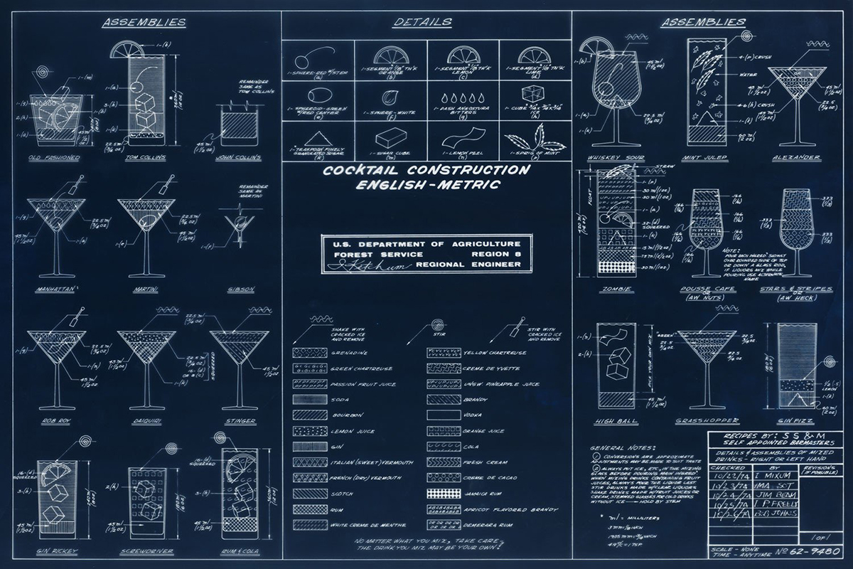 cocktail blueprint drawing