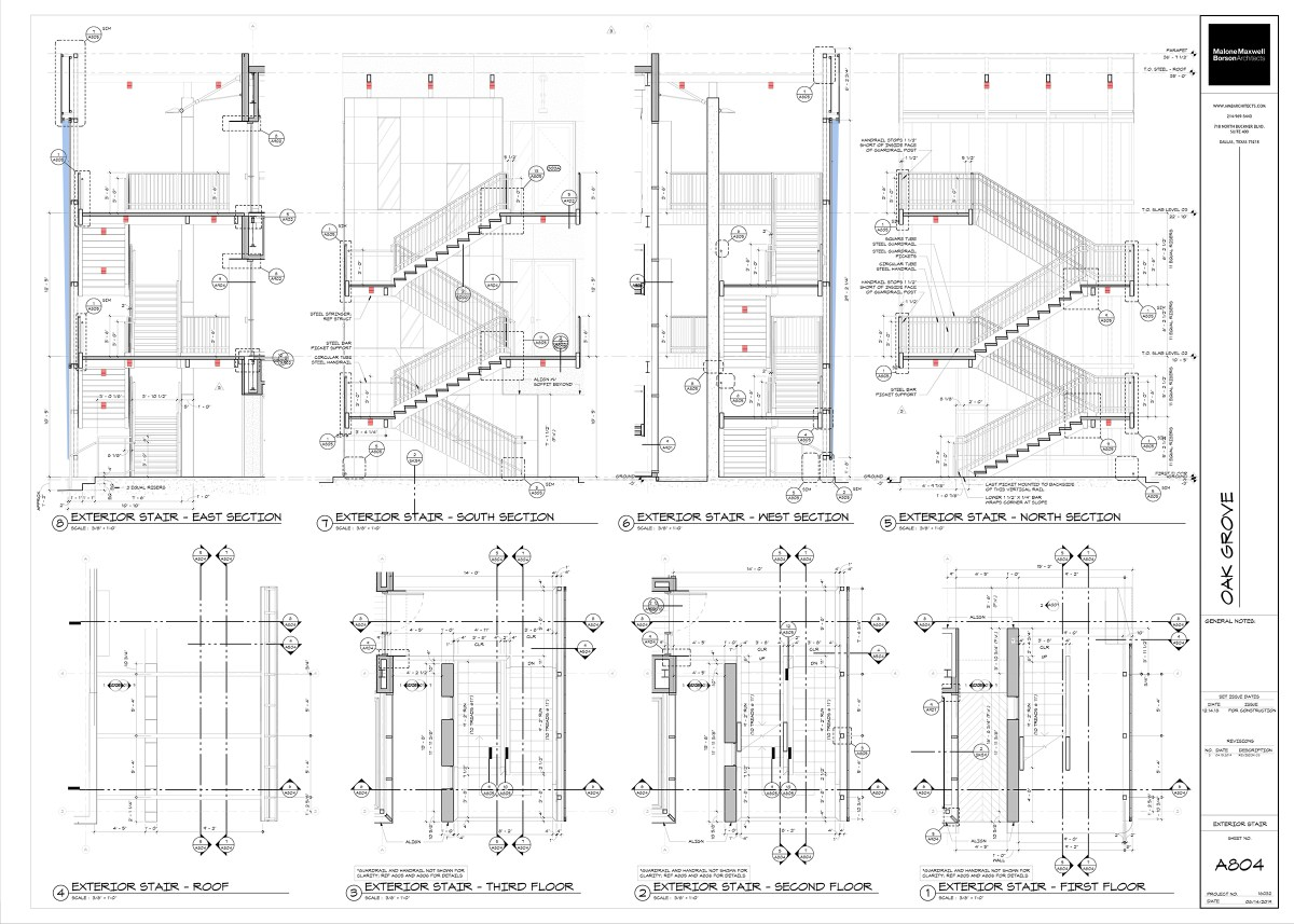 Oak Grove Exterior Stair and Screen Construction Drawings