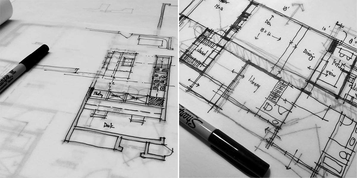Architectural floor plan sketches by Bob Borson 02