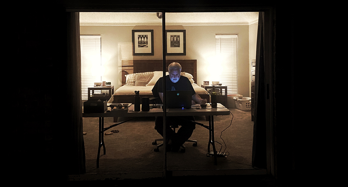 Bob Borson working from home - night shot