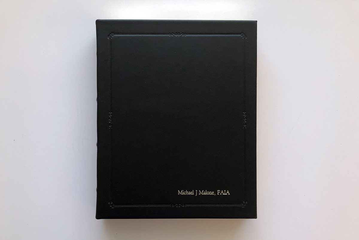 Leather bound sketchbook - Michael Malone FAIA