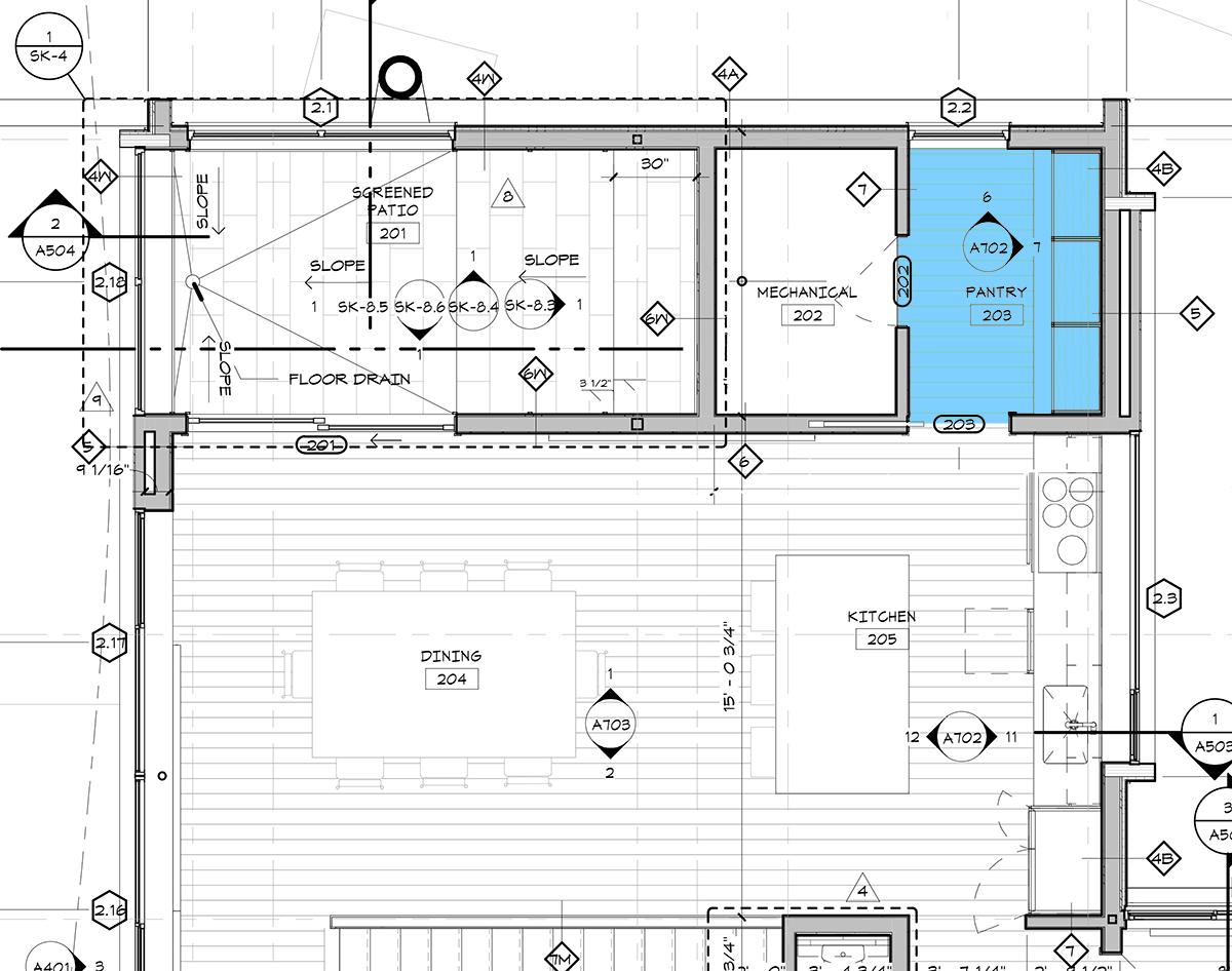 Cabin Kitchen and Pantry Plan - Dallas Architect Bob Borson