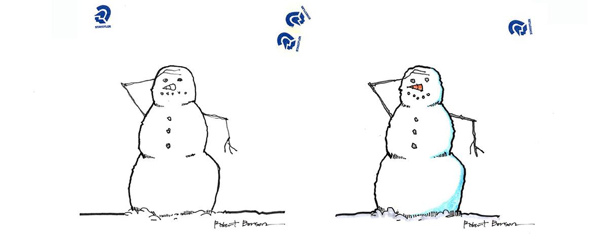 Original Snowman sketches by Bob Borson