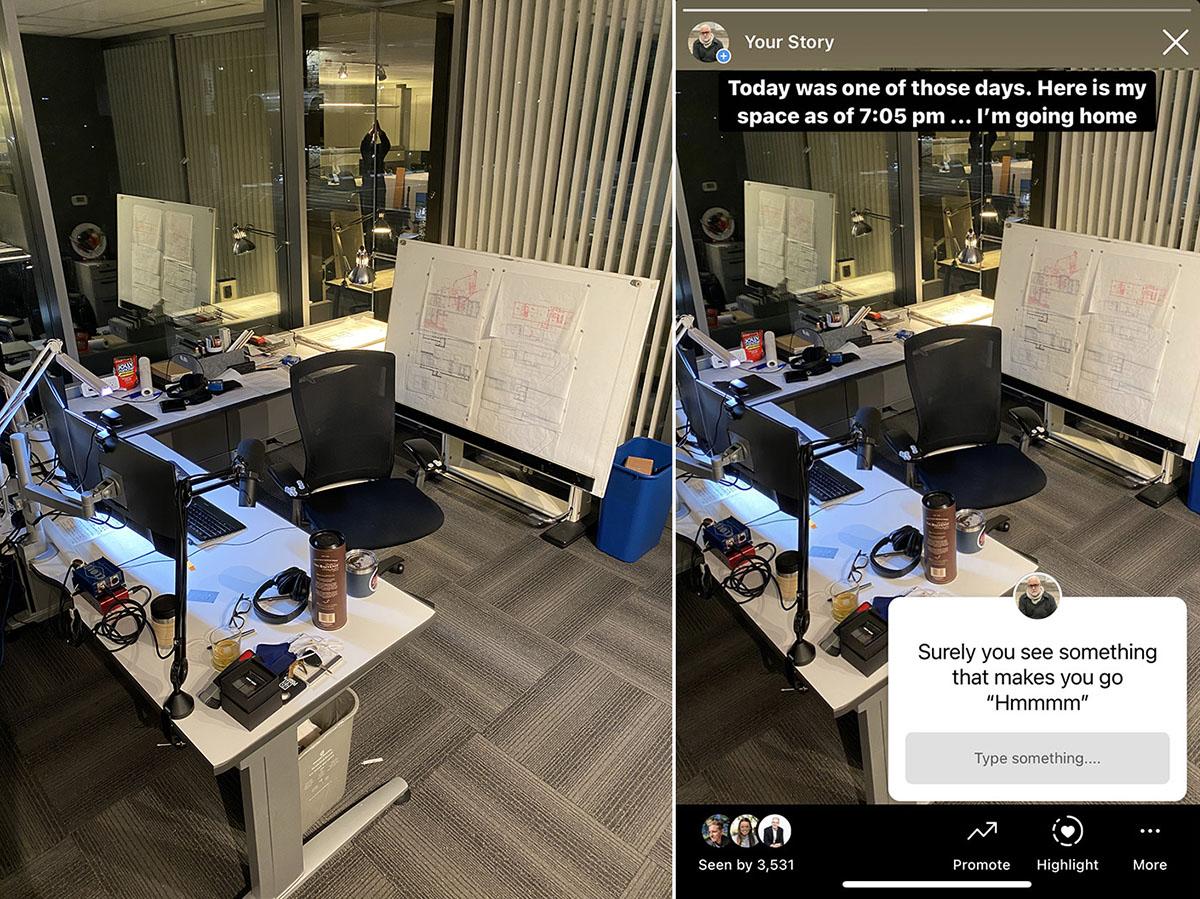 Bob Borson's Desk - Original and the Instagram post