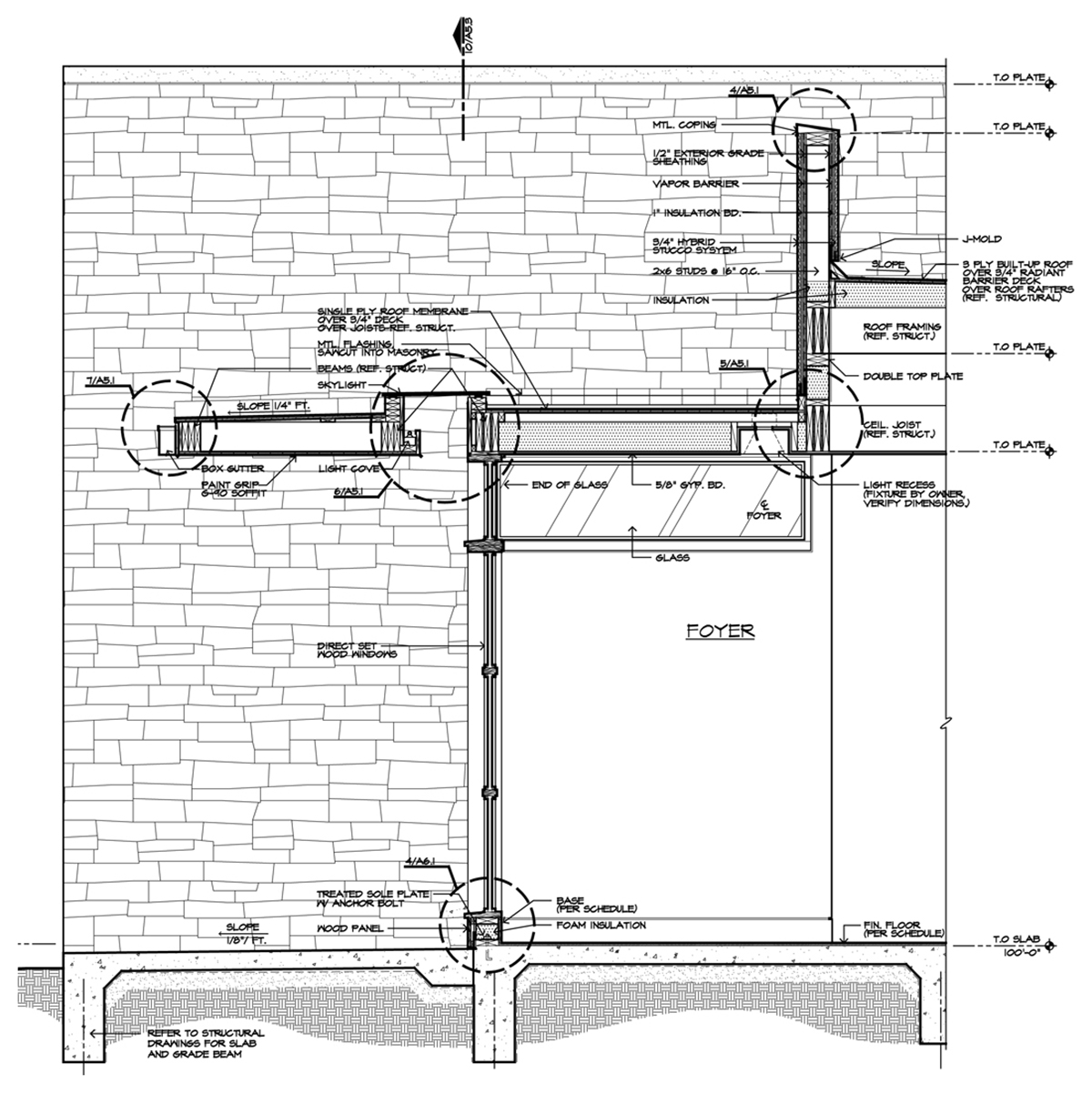 Architectural Drawing Skylight Wall Section - Bob Borson (Interior Bathroom elevation - Architectural Graphics: Arrows or Ticks?)
