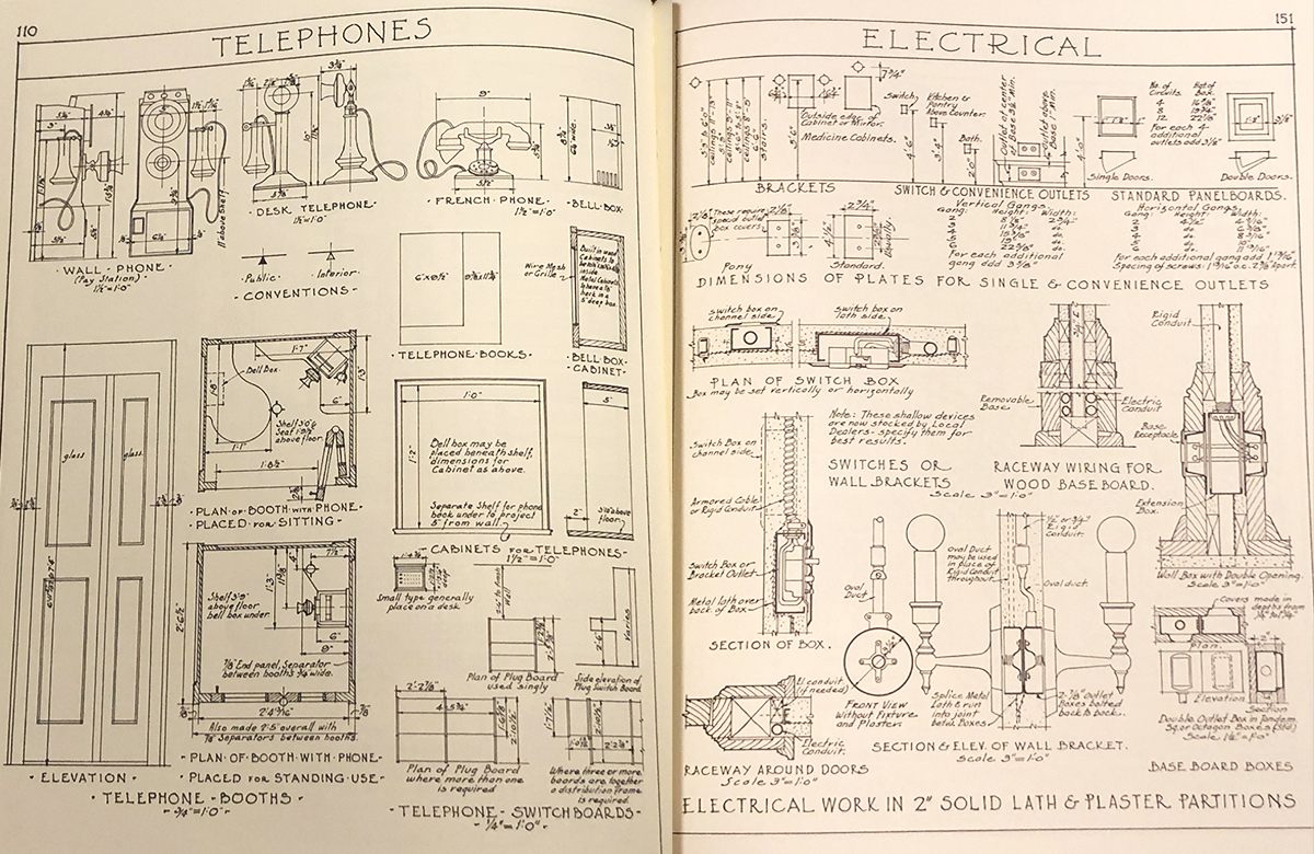 Architectural Graphic Standards 1st Ed Telephone & Electrical Info