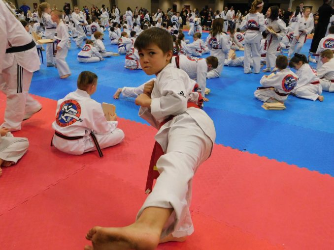 Image of child  showing a pose with his leg out in a Tae Kwon Do uniform