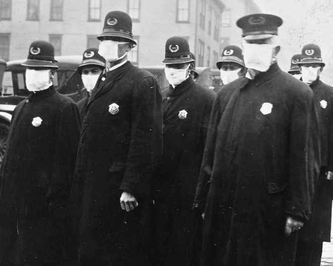 Spanish flu in 1918. Police officers in masks.