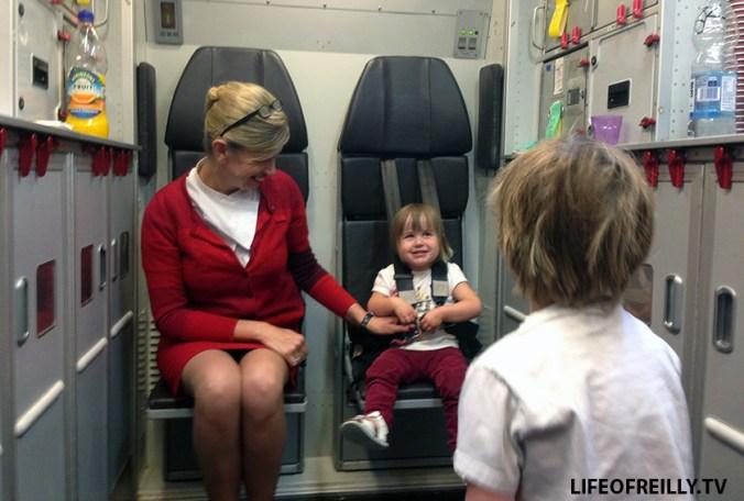 The cabin crew can also sometimes provide a free creche service!!