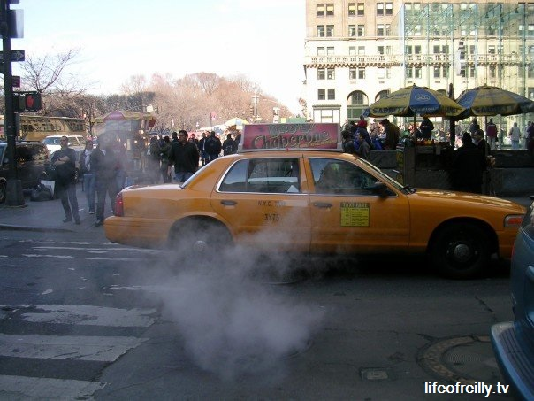 Steam coming up from a New York sewer when we were there - see, it's not a special effect!