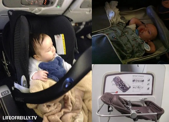 "Different airlines have varying facilities for kids. Left: Samantha in her own car seat. Top right: Dylan in the ""duffel bag"". Bottom right: Virgin Atlantic's Sky Cot"