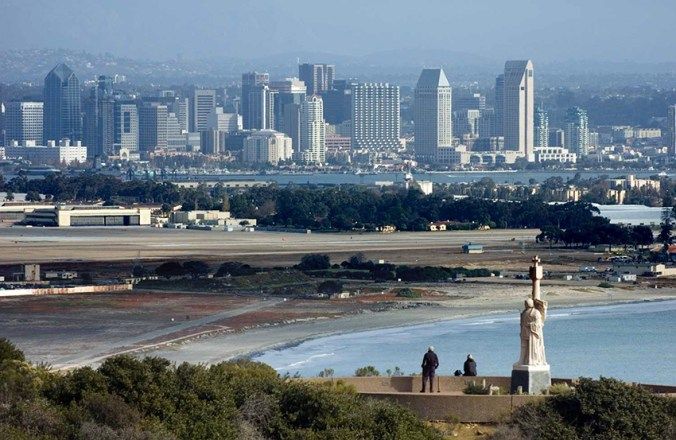 The view of San Diego from the Cabrillo National monument . A perfect place to finish your route to the very south of California and the USA. Photo by Cszmurlo/Wikimedia