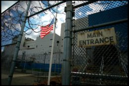 Entrance to the Vernon C. Bain Correctional Center at Rikers Island, in the Bronx. This is the only prison bardge in the US, and is anchored in the South Bronx near Rikers Island. The Bardge handles inmates from medium- to maximum-security in 16 dormitories and 100 cells. (Photo by David Howells/Corbis via Getty Images)