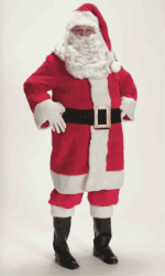 red professional plush santa suit rental size extra large