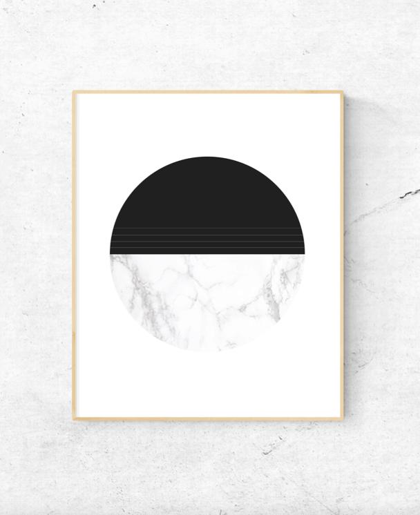 marble and black circle wall art