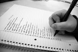 written bucket list