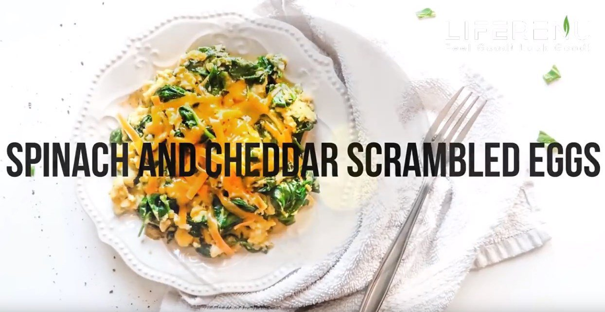 Spinach and Cheddar Scrambled Eggs