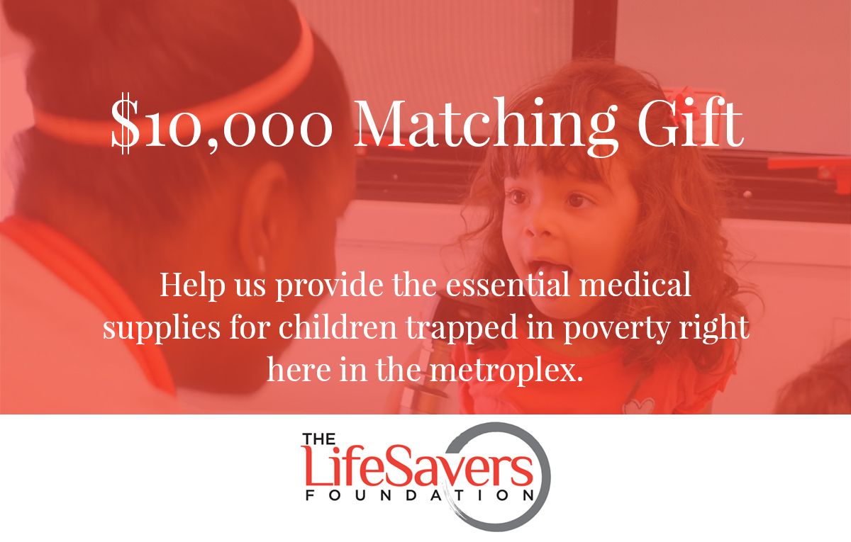 $10,000 Matching Gift image with nurse and child