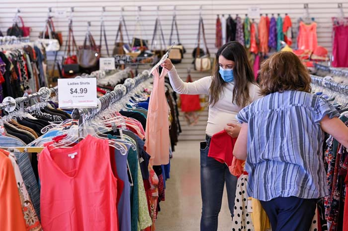 Women shopping at upscale thrift store