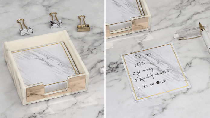 Sticky notes are made to look like marble.