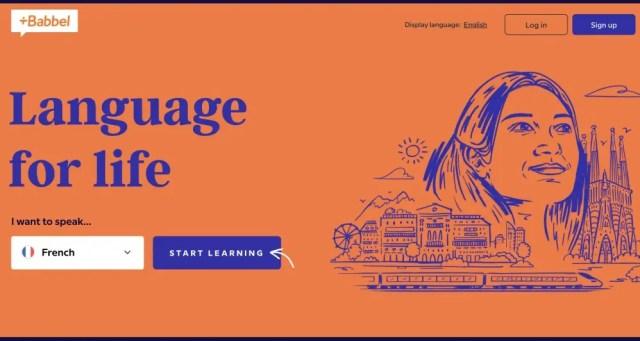 The main screen of the Babbel language program