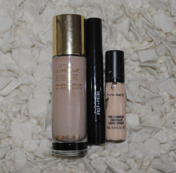 YSL Foundation, MAC Prep & Prime, MAC Prolongwear Concealer