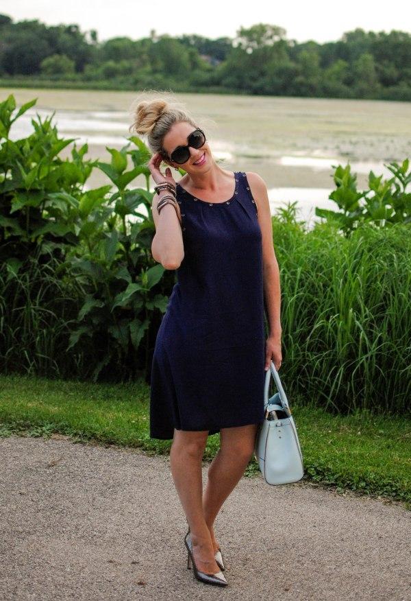 high/low navy dress