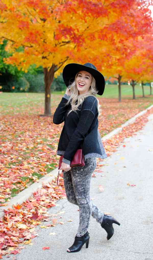 floppy hat and sweater