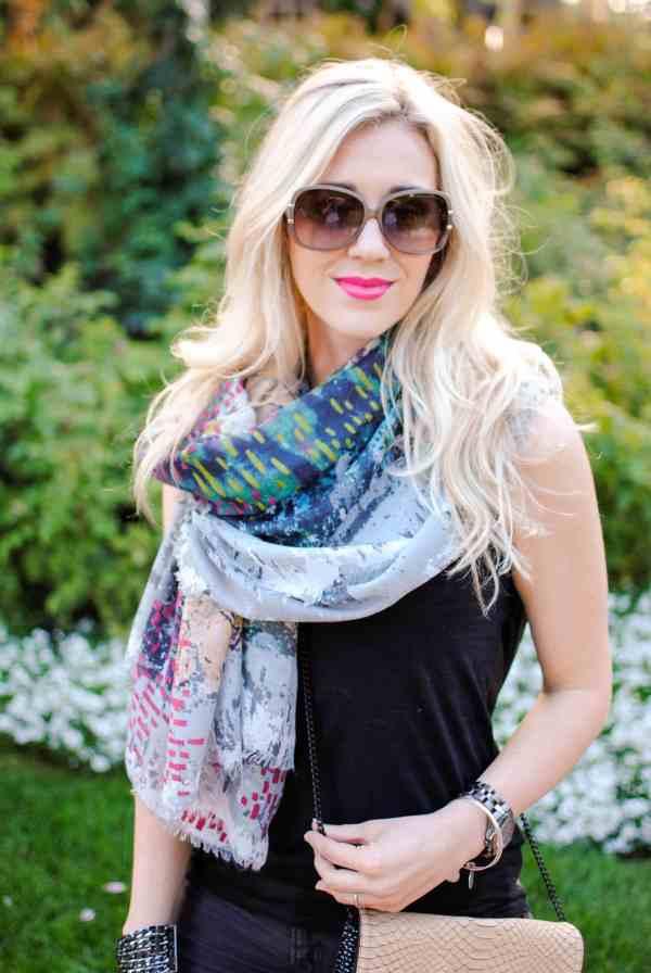 rachel barkules, bcbg scarf
