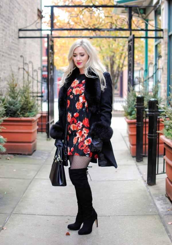 floral dress, black coat