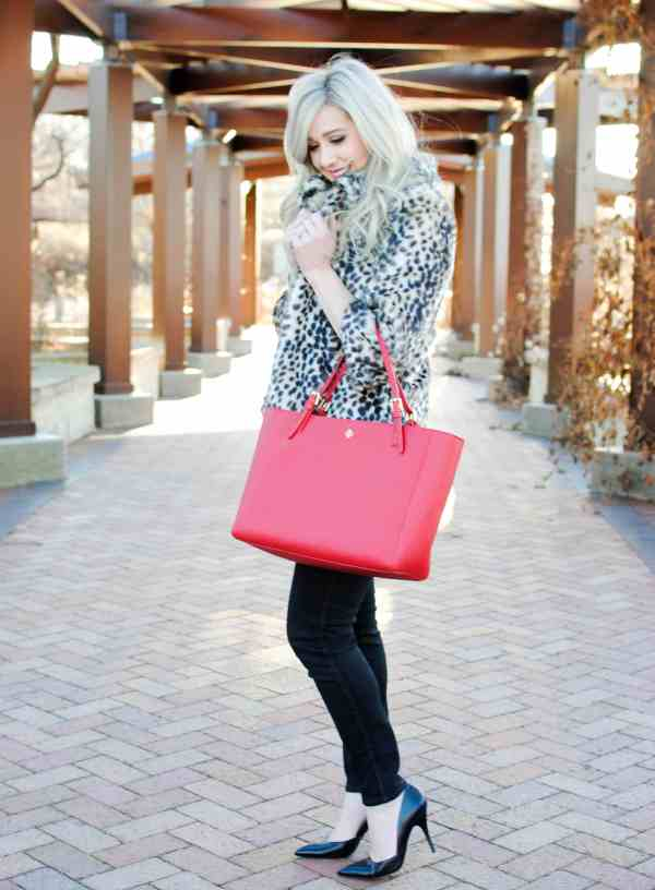 leopard jacket, tory burch york red tote