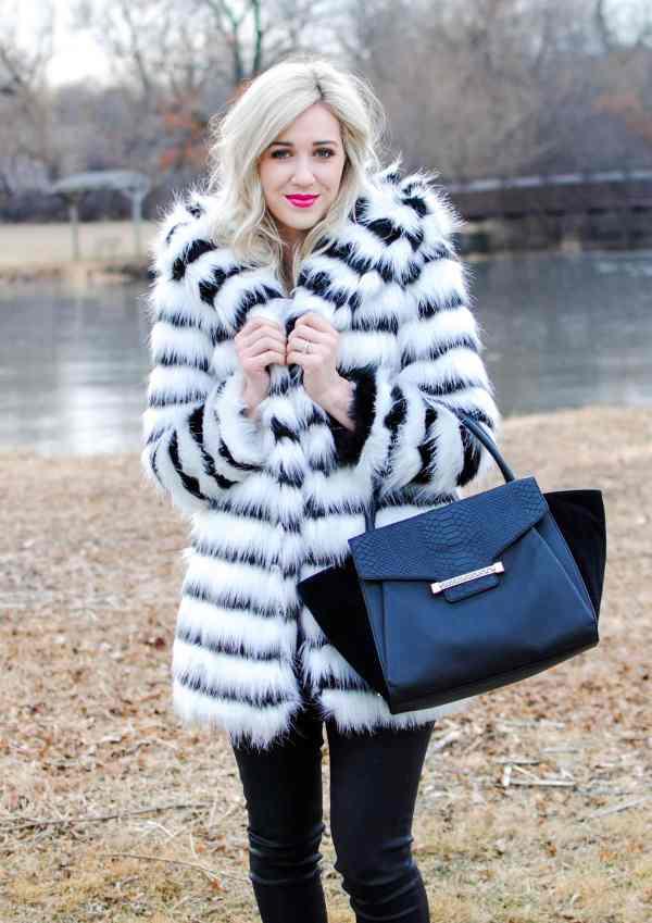 rachel barkules glamorous striped faux fur coat