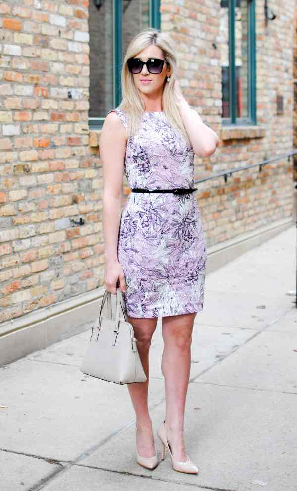 French Connection 'Flight of Fancy' Print Cotton Sheath Dress violet vice multi